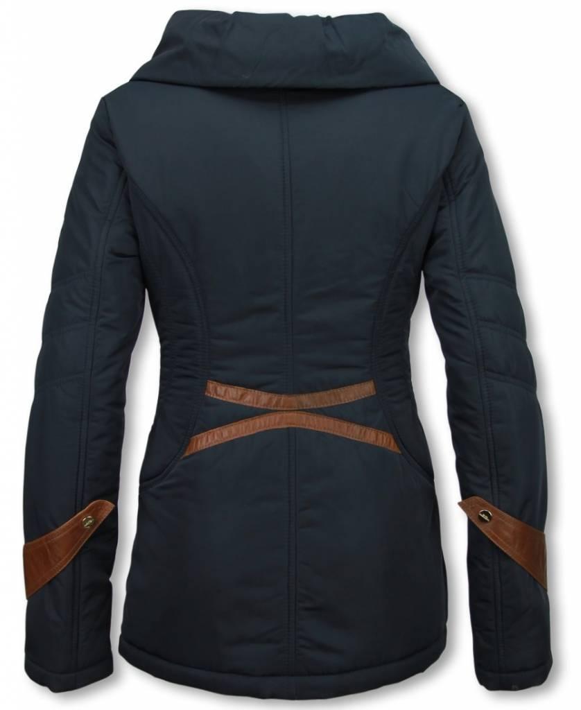 Winterjassen Dames Winterjas Halflang Regular Slim Fit Edition Blauw