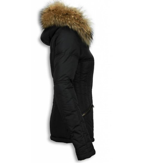 Zwarte Winterjas Dames met Bontkraag | Korte warme jas
