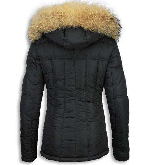 Warme Zwarte Winterjas.Zwarte Winterjas Dames Met Bontkraag Korte Warme Jas Vrouwen