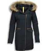 Milan Ferronetti Winterjassen - Dames Winterjas Lang - Schuin Rits Met Steekzakken - Blauw