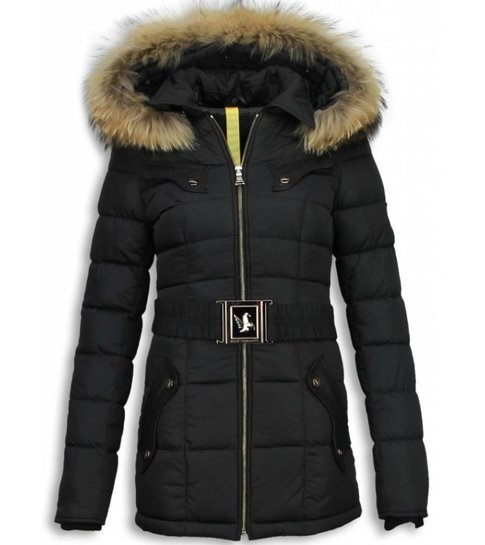 Milan Ferronetti Lange Dames Winterjassen met Bontkraag - Vrouwen Winter Parka
