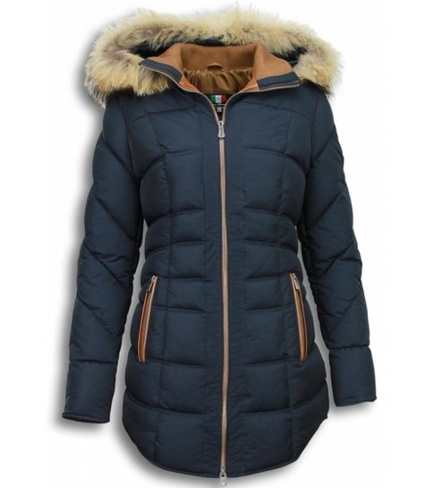 italiaanse winterjassen dames met bontkraag sale