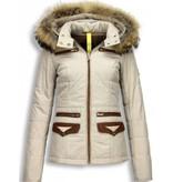 Milan Ferronetti Winterjassen - Dames Winterjas Kort- Xtra Pocket Edition - Beige