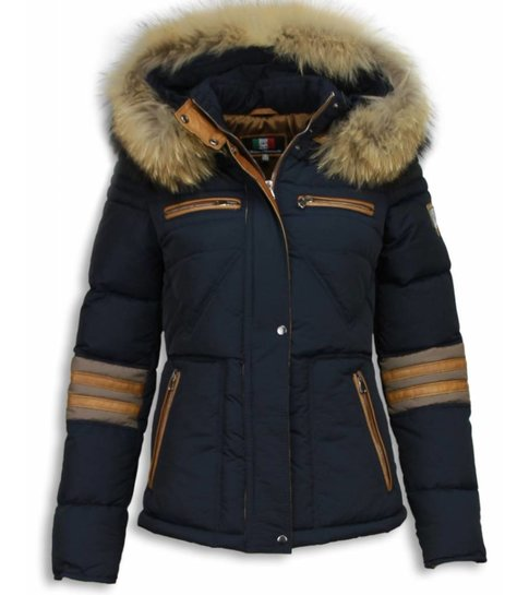 Milan Ferronetti Winterjassen - Dames Winterjas Kort - Driehoek Patroon - Blauw