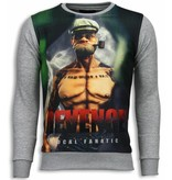 Local Fanatic Popeye Revenge - Digital Rhinestone Sweater - Licht Grijs