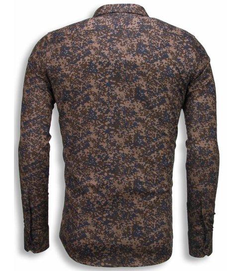 TONY BACKER Italiaanse Overhemden - Slim Fit Blouse - Camouflage - Bruin
