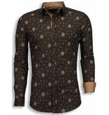 TONY BACKER Italiaanse Overhemden - Slim Fit Blouse - Mozaiek Pattern - Bruin