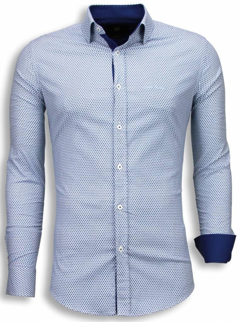 a9e6a59acdcdfa Gentile Bellini Italiaanse Overhemden - Slim Fit Blouse - Bijenkorf Pattern  - Blauw ...