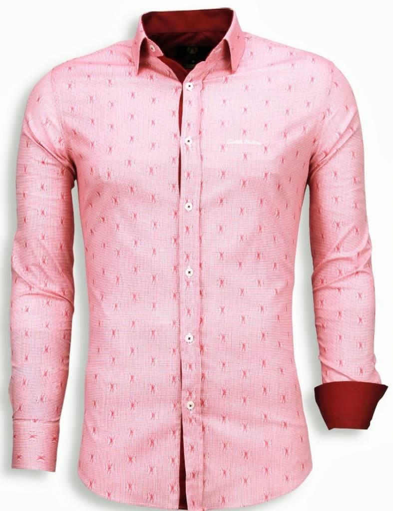Rood Overhemd Slim Fit.Gentile Bellini Italiaanse Overhemden Slim Fit Blouse Draad