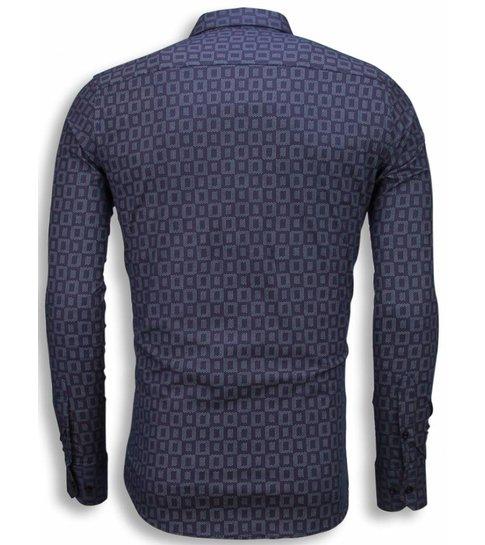 TONY BACKER Italiaanse Overhemden - Slim Fit Blouse - Scale Pattern - Paars