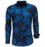TONY BACKER Italiaanse Overhemden - Slim Fit Blouse - Modern Army Pattern - Blauw