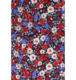 TONY BACKER Italiaanse Overhemden - Slim Fit Blouse - Bouquet Pattern - Blauw