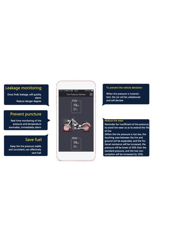 YubiX motor Bandenspanningscontrolesysteem met APP incl. 2 sensoren