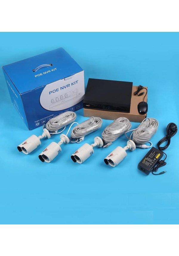 YubiX POE Beveiligingscamera systeem set 4 camera's 1080P