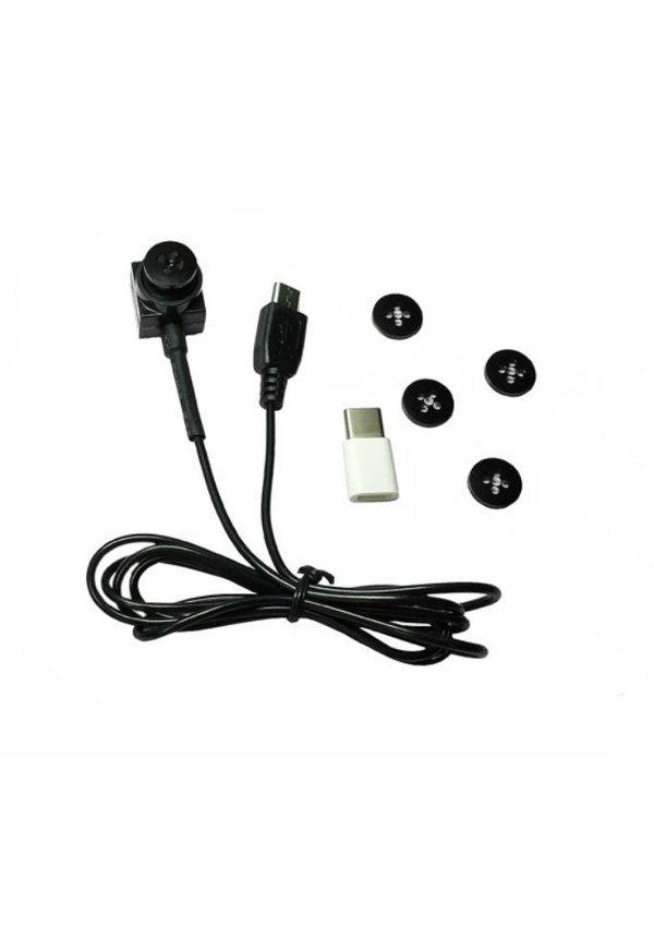 Knoop met verborgen camera - Micro usb + Type C
