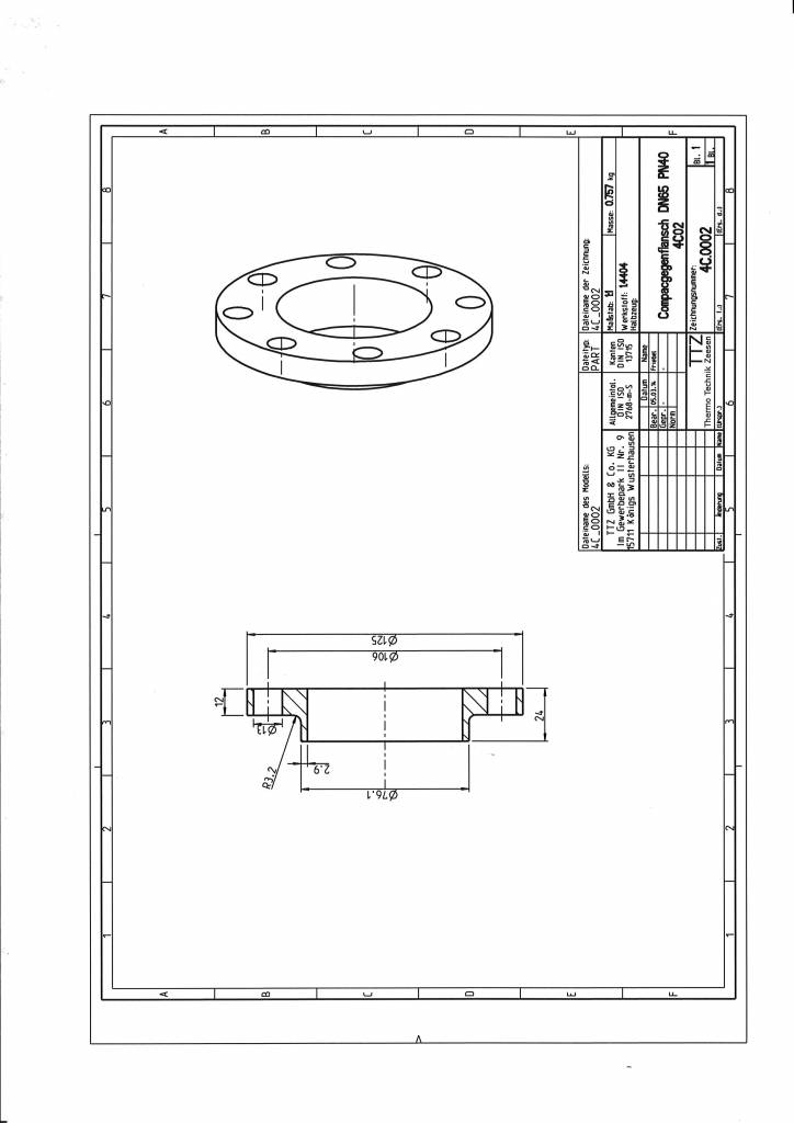 Compac Gegenflansch DN65/PN40 in 1.4404