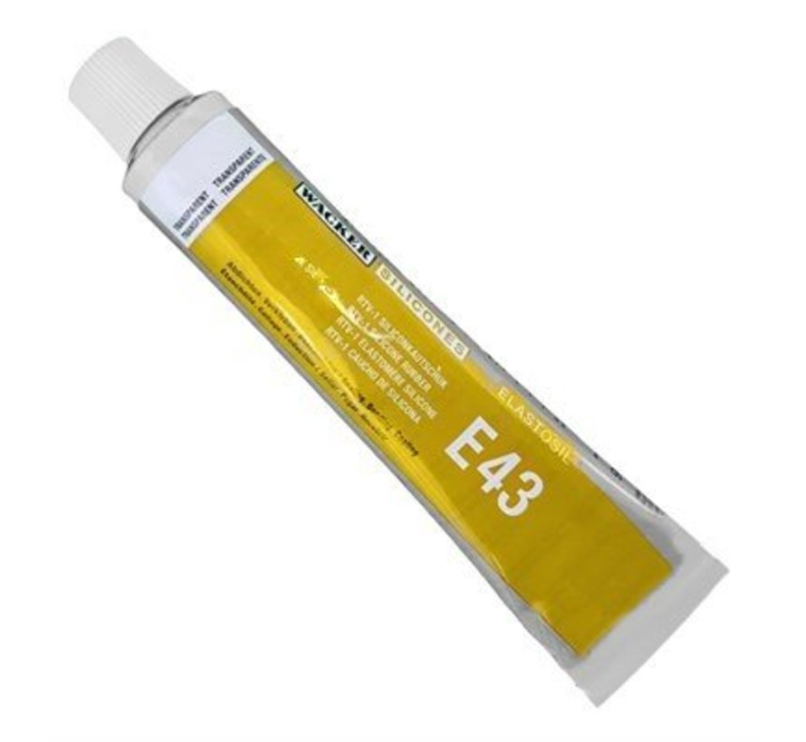 Elastosil E43 transparant multifunktional Kleber für Silikon. Tube 90 ml.