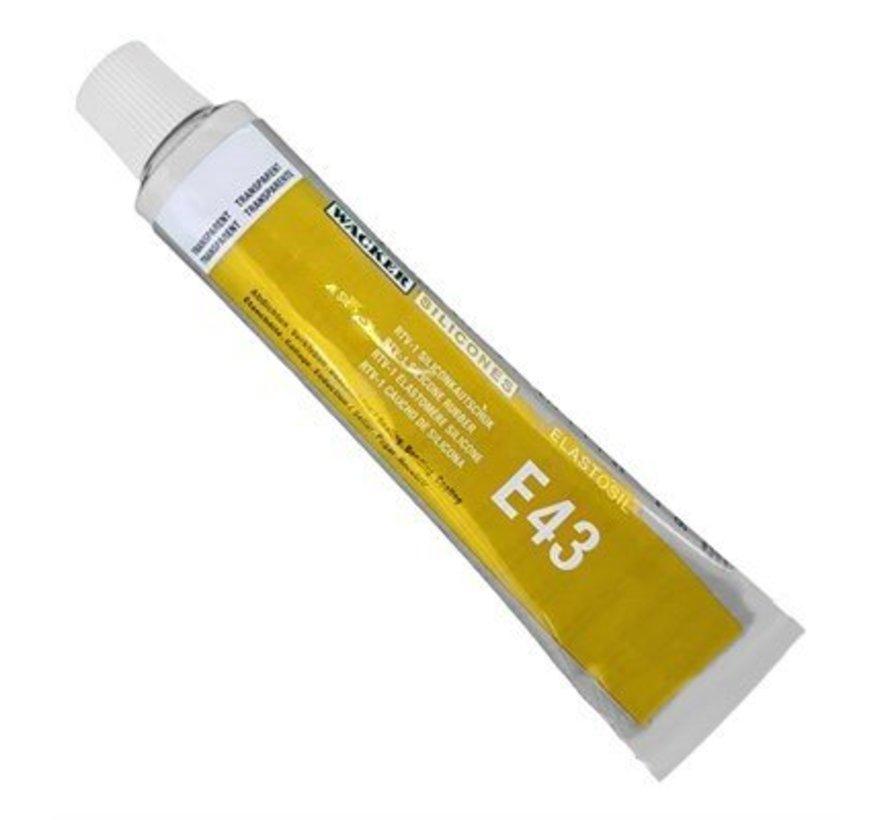 Elastosil E43 transparant  multifunctionele lijm voor siliconen. Tube 90 ml.