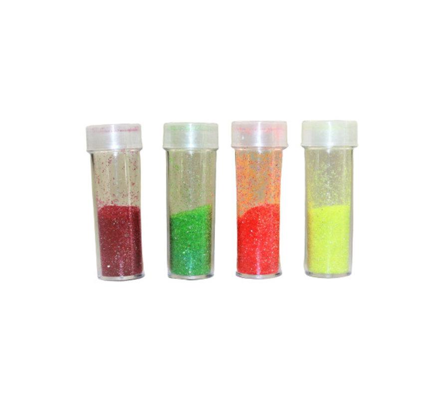 Neon Glitter Set: Rot, Grün, Orange, Gelb (4 x 3 gram)