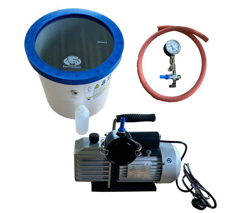 Vacuümpomp  EVD-VE235, inclusief vacuümkamer 25 liter