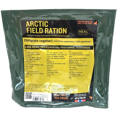 Real Field Meal Arctic Field Ration Chili Stew Vegetarian