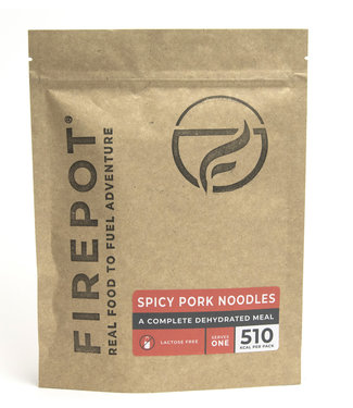 Firepot Spicy pork Noodles Compostable package