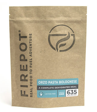 Firepot Orzo Pasta Bolognese Compostable package
