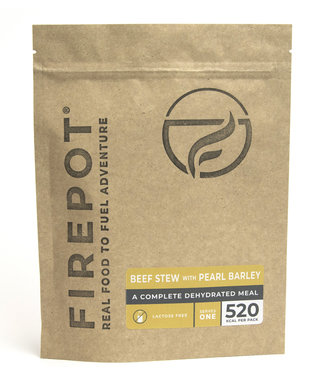Firepot Beef Stew with Pearl Barley Compostable package