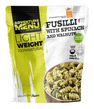 Adventure Menu Fusilli with spinach and walnuts