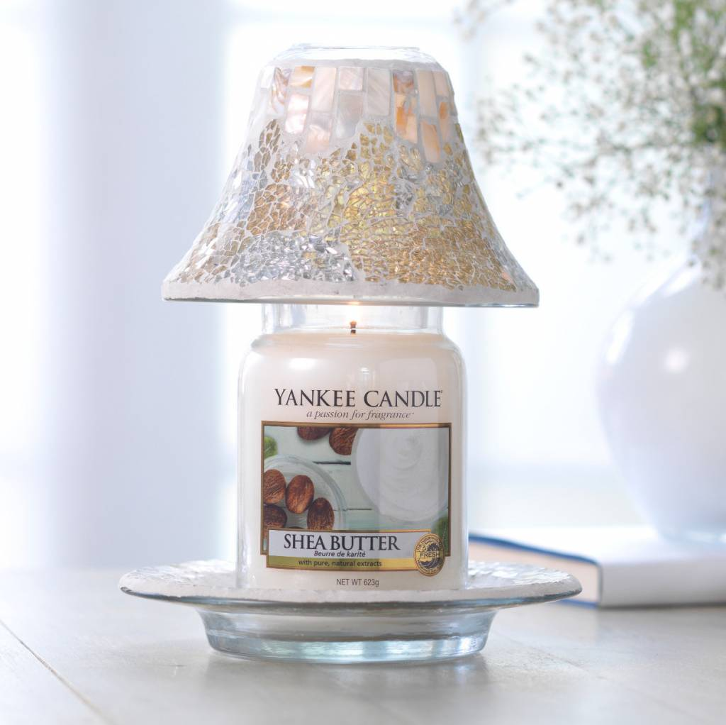 Yankee Candle - Gold & Pearl Cracklé Large Shade & Tray