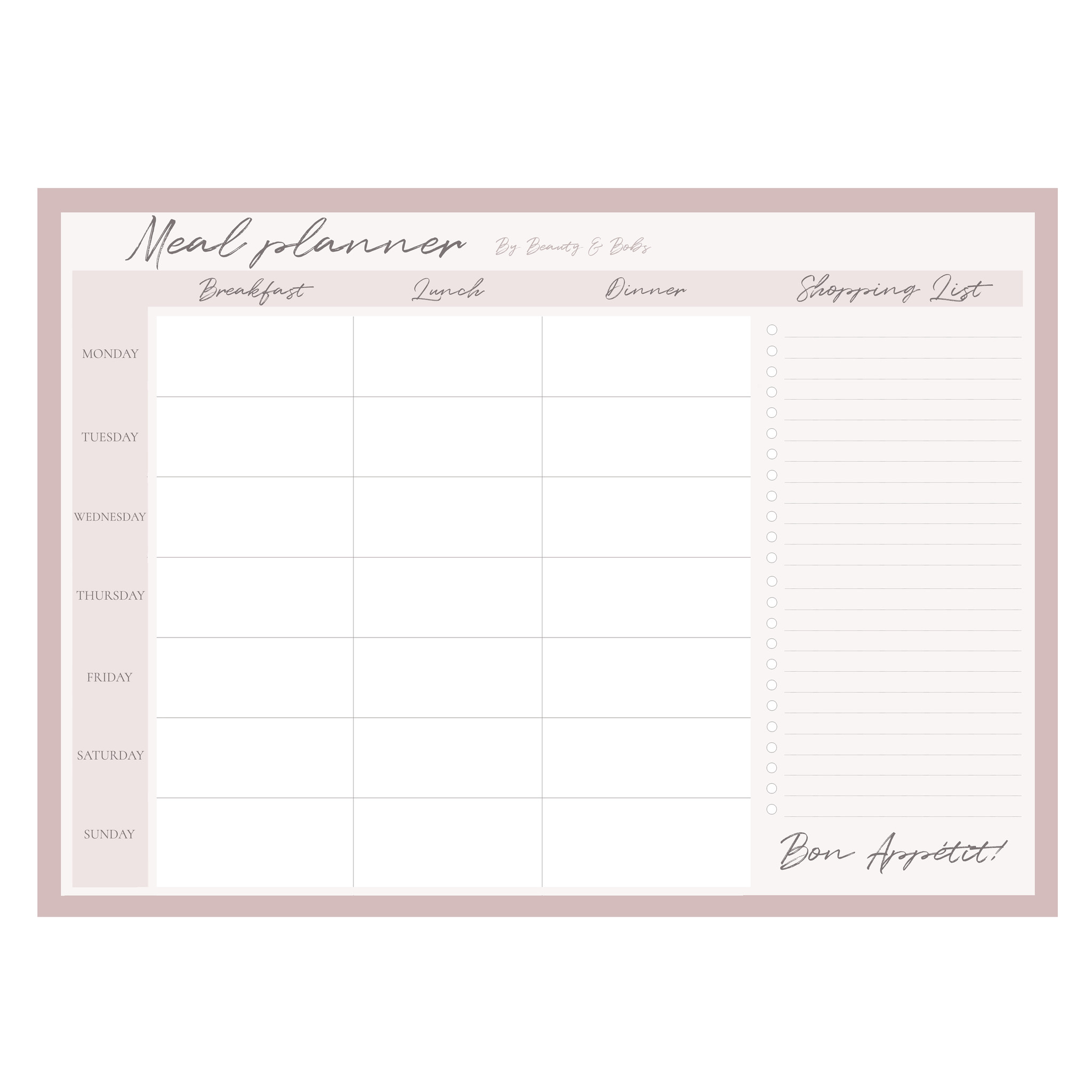 THE MEAL PLANNER  (A4)