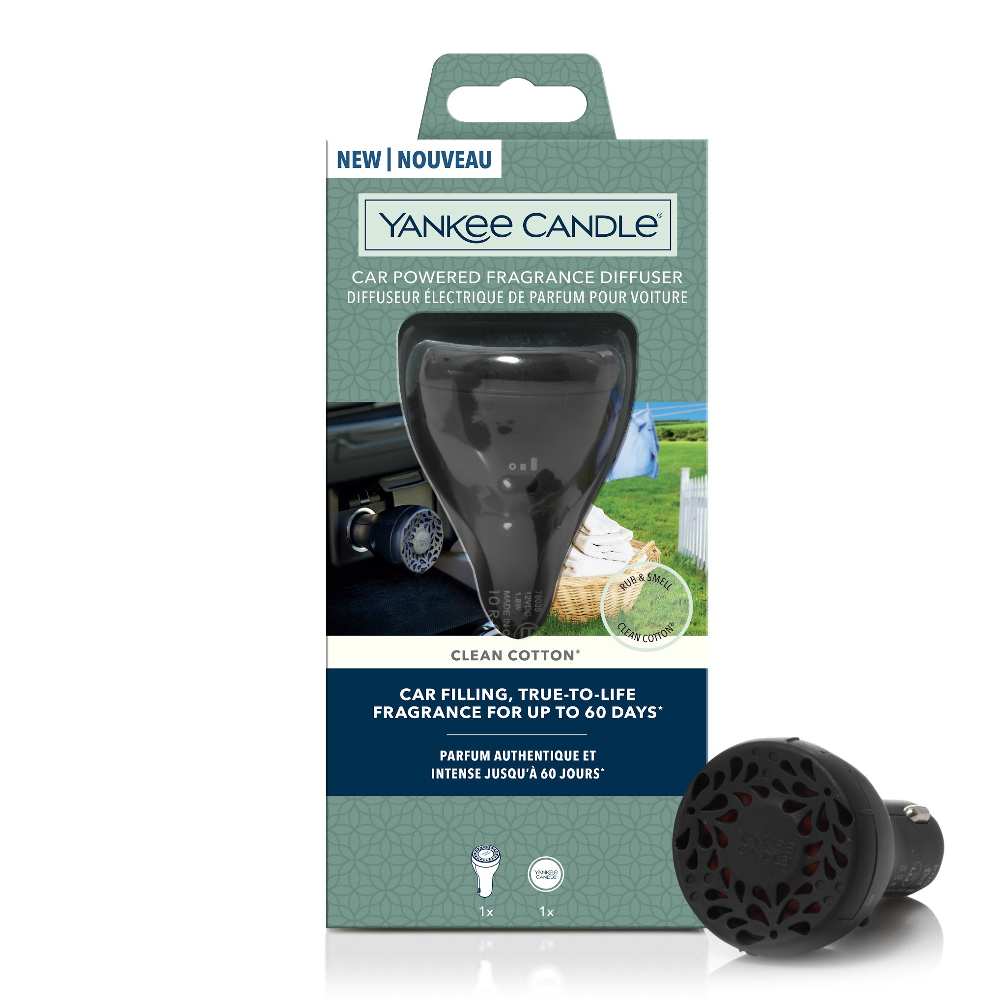 Yankee Candle - Clean Cotton Starter Kit Car Powered Fragrance