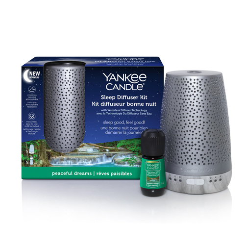 Yankee Candle - Silver Sleep Diffuser +  Peaceful Dreams Refill