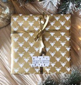 Kerst Cadeaupapier - Deer Gold (Opgelet, door drukte neemt inpakken een dag langer in beslag.)