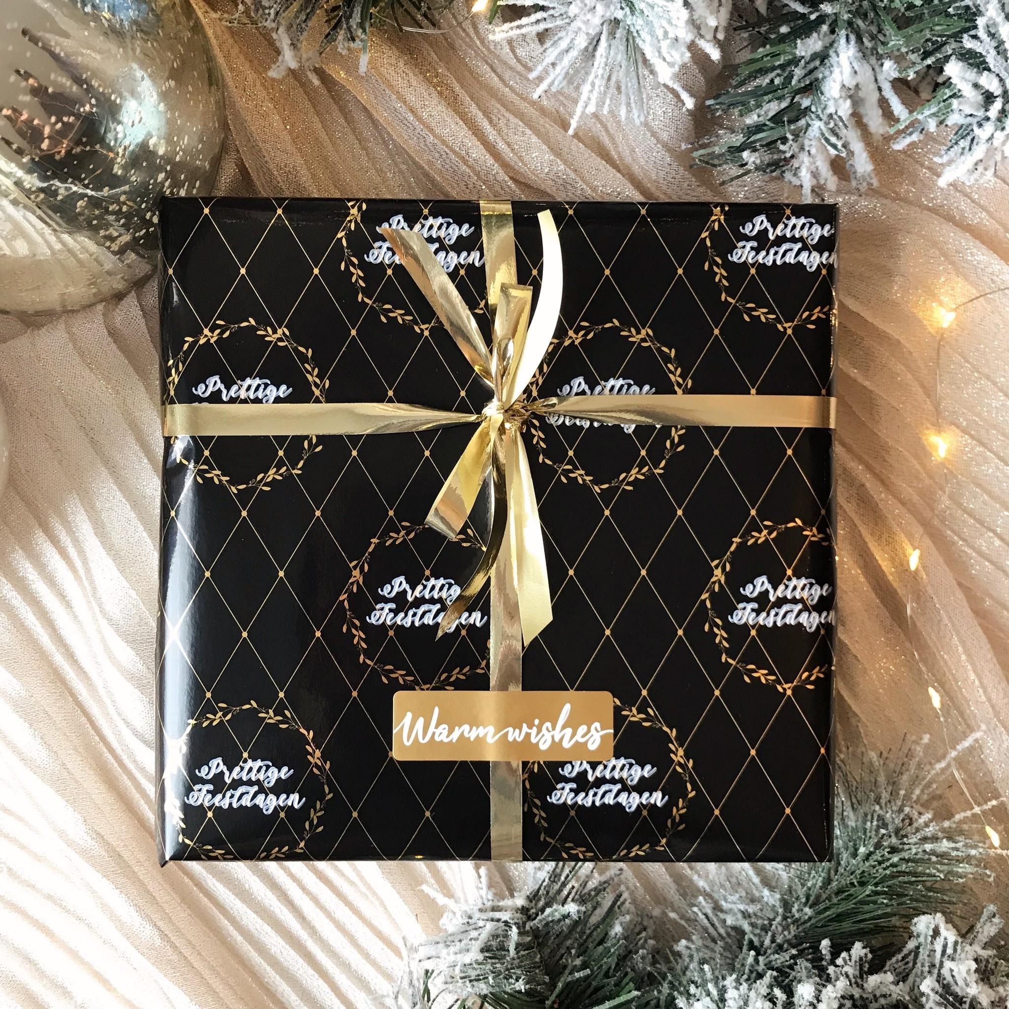Kerst Cadeaupapier - Prettige Feestdagen, Black & Gold (Opgelet, door drukte neemt inpakken een dag langer in beslag.)