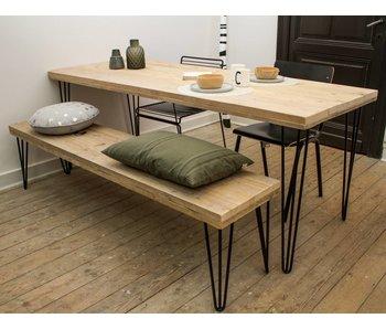 """""""Har"""" industrieller Tisch aus Bauholz/ Haarnadel Tischbeine"""