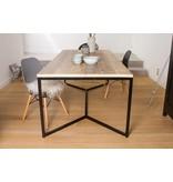 'Farstad' industrieller Bauholz Tisch/ Untergestell aus Stahl Kreuzform