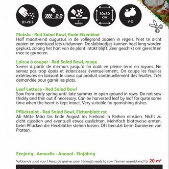 Moestuinplant Pluksla eikenblad groentezaden