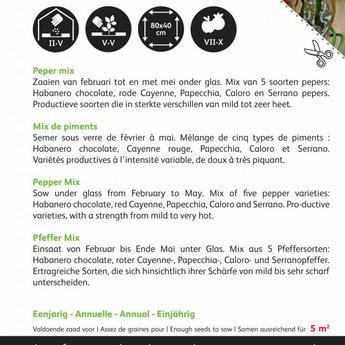 Moestuinplant Peper Mixed 5 soorten zaden