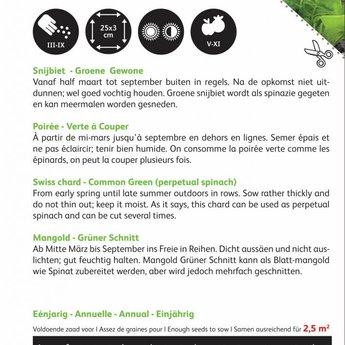 Moestuinplant Snijbiet Groene Gewone zaden