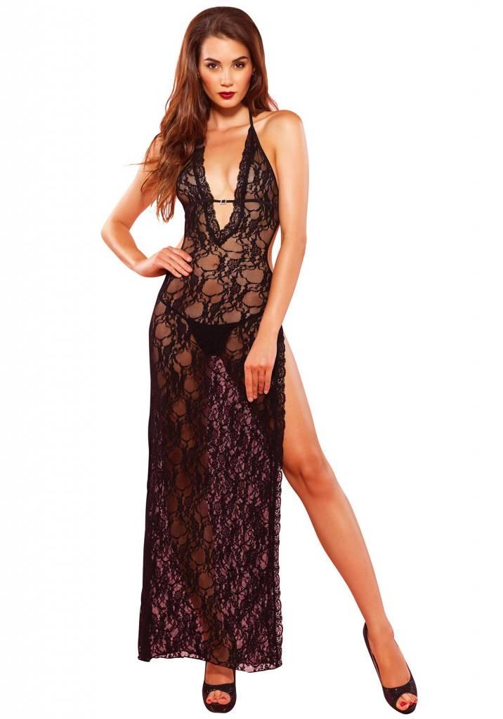 Deep V lace high slit