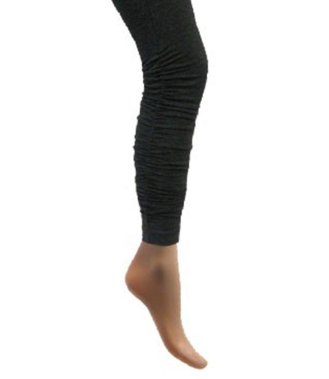 Katoenen legging met rimpel grijs