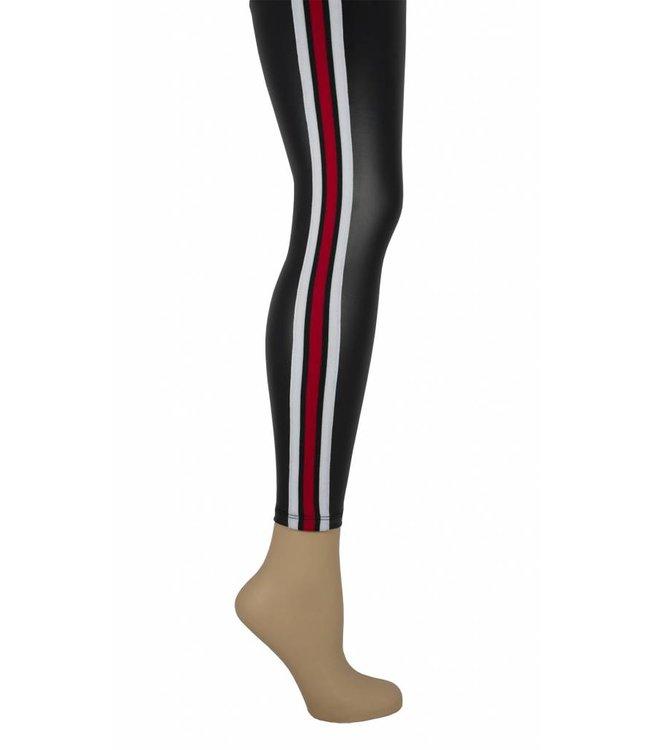 Marianne Leatherlook legging met rode streep