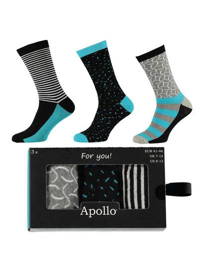 Apollo 3 paar vrolijke heren sokken in cadeau verpakking