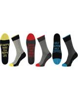 Apollo 3 paar sokken met een vrolijke tekst