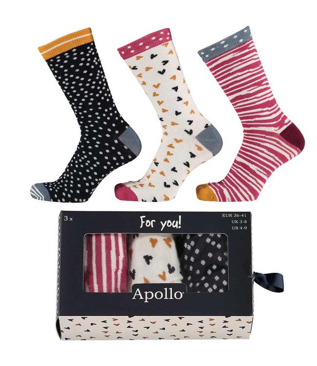 Apollo Dames sokken giftbox 3 paar
