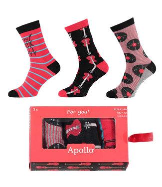 Apollo Heren sokken cadeau set muziek 3 paar