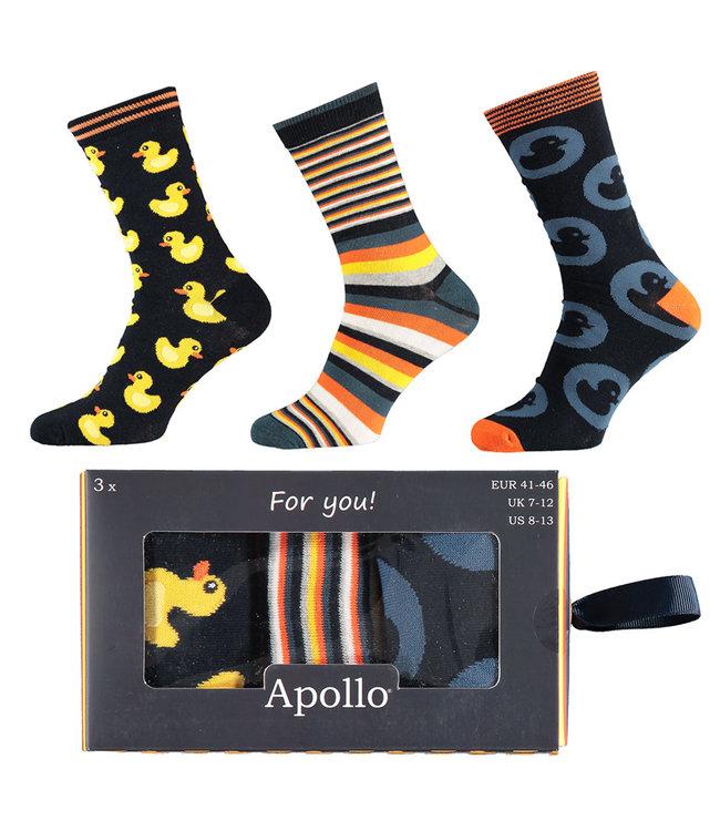 Apollo 3 paar vrolijke heren sokken in luxe cadeau verpakking - Copy