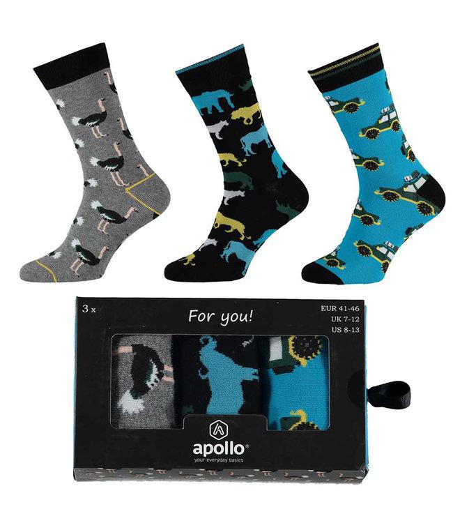 Apollo Heren sokken cadeau set safari 3 paar