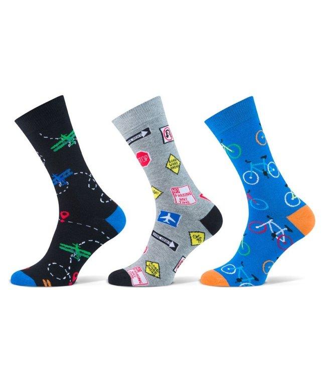Teckel Vrolijke heren sokken transport 3 paar volledig naadloos